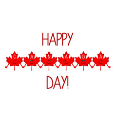 happy maple leaves canada day vector image