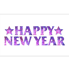 Happy new year mosaic text design with stars vector