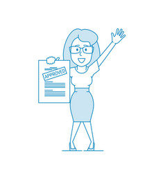happy woman shows a document with inscription vector image