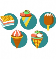 ice-cream and desserts vector image