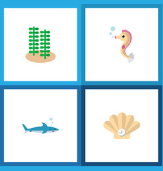 icon flat sea set of alga gray fish sea horse vector image