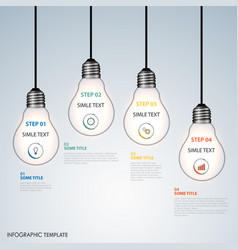 Info graphic with hanging design bulbs template vector