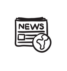 International newspaper sketch icon vector