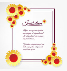 Invitation template with yellow flowers vector