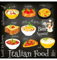Italian food chalk vector