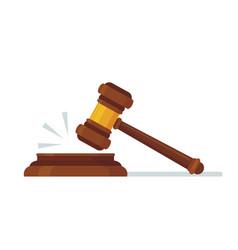Judges wooden hammer judicial decision hammer vector