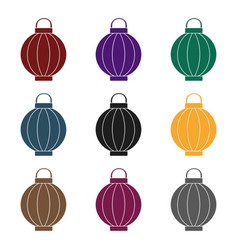 korean lantern icon in black style isolated o vector image