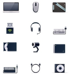 laptop accessories icon set vector image