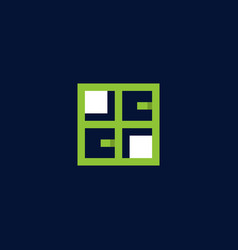 letter cc window logo design vector image