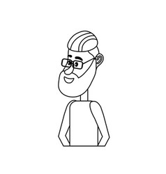 Line cute man with hairstyle design and clothes vector