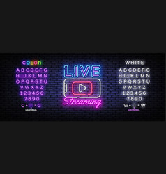 live streaming only neon text design vector image