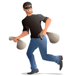 man robber in mask runs with bags vector image
