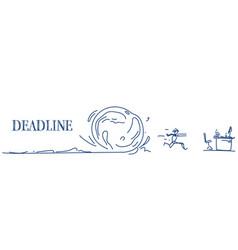 Man running away from snowball deadline problem vector