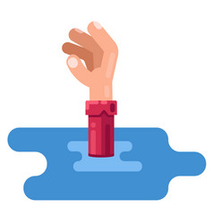 Man sinks in water outstretched hand request vector