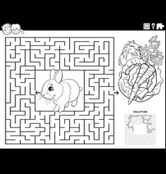 Maze game with carrot and lettuce coloring book vector
