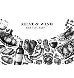 meat and wine design hand drawn food and vector image