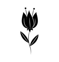 minimalist tattoo single flower silhouette art vector image