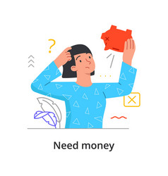 need money concept with a woman vector image