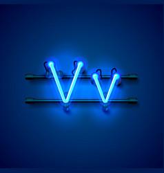 Neon font letter v art design singboard vector