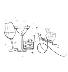 New years with glasses alcohol vector