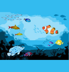 Ocean underwater world with tropical animals vector