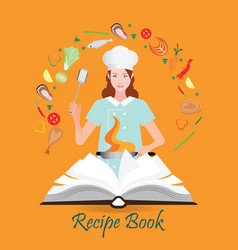 Open recipe book with woman cooking vector