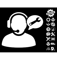 Operator service message icon with tools vector