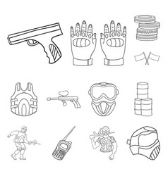 paintball team game outline icons in set vector image