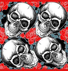 Pattern skull with rose vector