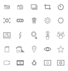 Photography line icons on white background vector image