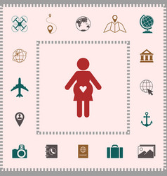 Pregnant woman icon with heart elements for your vector