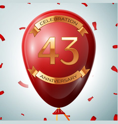 Red balloon with golden inscription 43 years vector