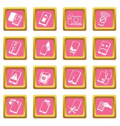 Repair phones fix icons set pink square vector