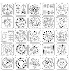 Seamless pattern Sampler doodle flowers leaves vector image