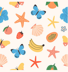 Seamless pattern with summer tropical fruits vector