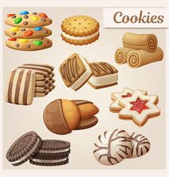 set delicious cookies cartoon vector image