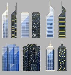 Set detailed skyscraper vector