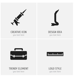 Set of 4 editable tools icons includes symbols vector