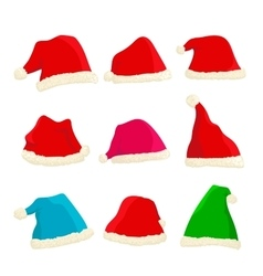 Set of bright Santa Claus hats on Christmas and vector