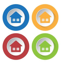 set of four icons - home with two windows vector image