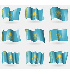 Set of Kazakhstan flags in the air vector image