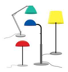 set of lamps furniture floor lamps vector image