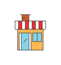 shop building line icon concept shop building vector image