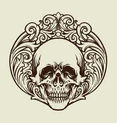 silhouette skull vintage ornaments vector image