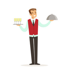 Smiling male waiter character holding tray with vector
