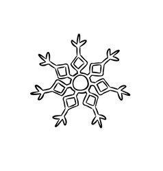snowflake coloring template icon in doodle sketch vector image