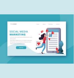 social media marketing landing page vector image