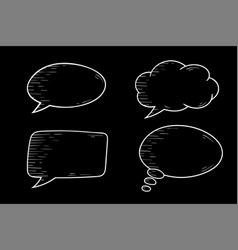 speech bubbles outline icons set on black vector image