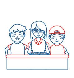 Teacher and boys design vector