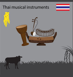 Thai national musical instrument national flower vector